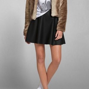 Abercrombie and Fitch Faux Leather Skater Skirt
